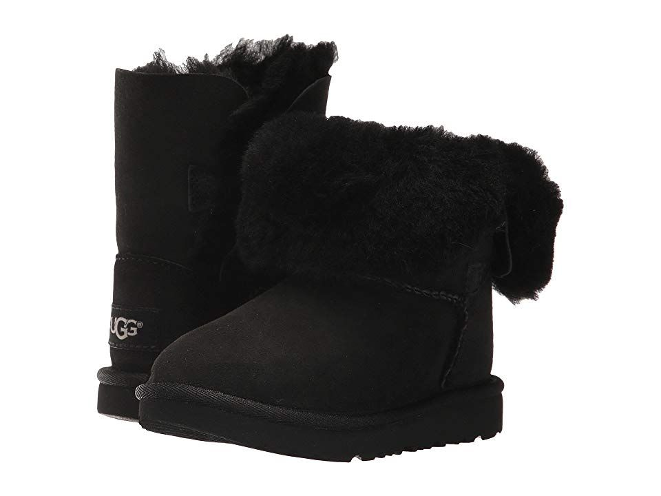 UGG Kids Bailey Button II (Toddler/Little Kid) Girls Shoes Black #uggbootsoutfitblackgirl