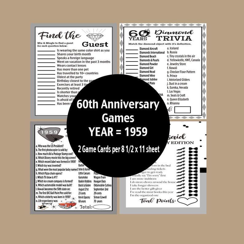 60th Anniversary Games Anniversary Games 60th Anniversary Etsy Anniversary Games 60th Anniversary Parties Anniversary Party Games