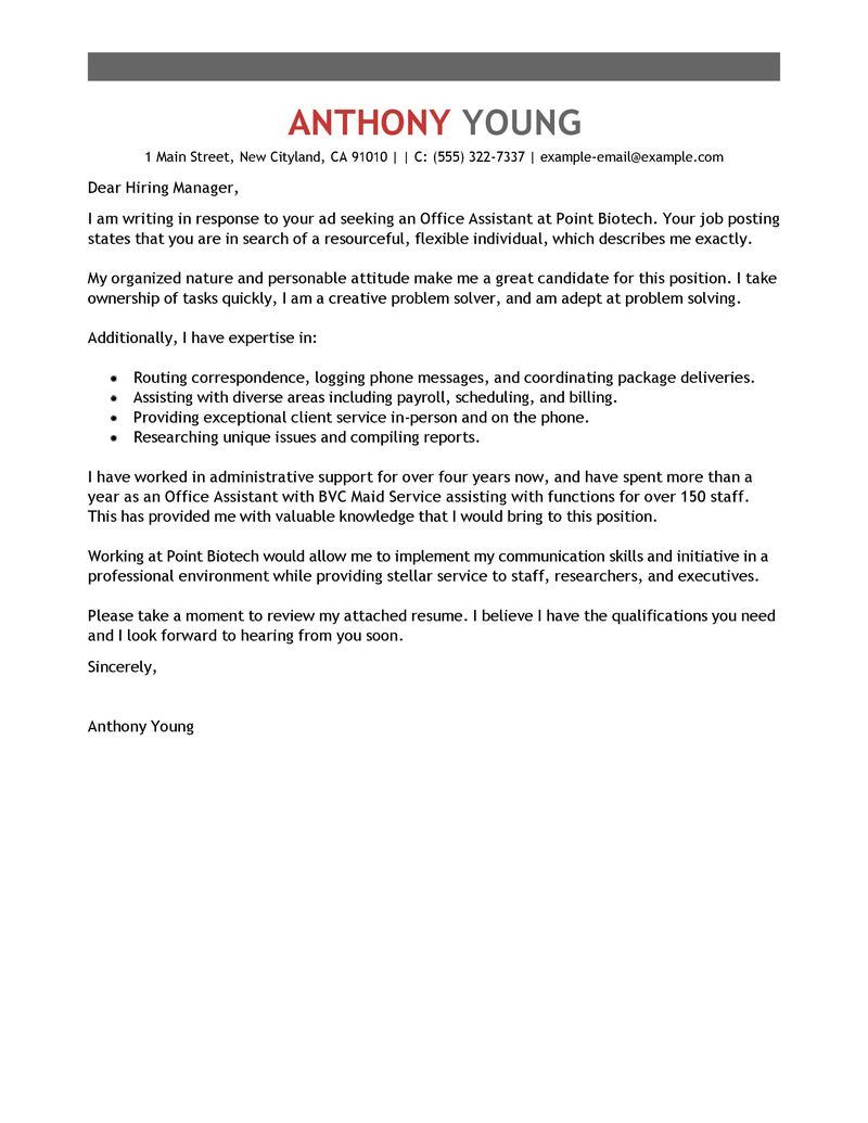 Front Desk Cover Letter Cover Letter Example Administrative Cover Letter Example Administrative Assistant Cover Letter