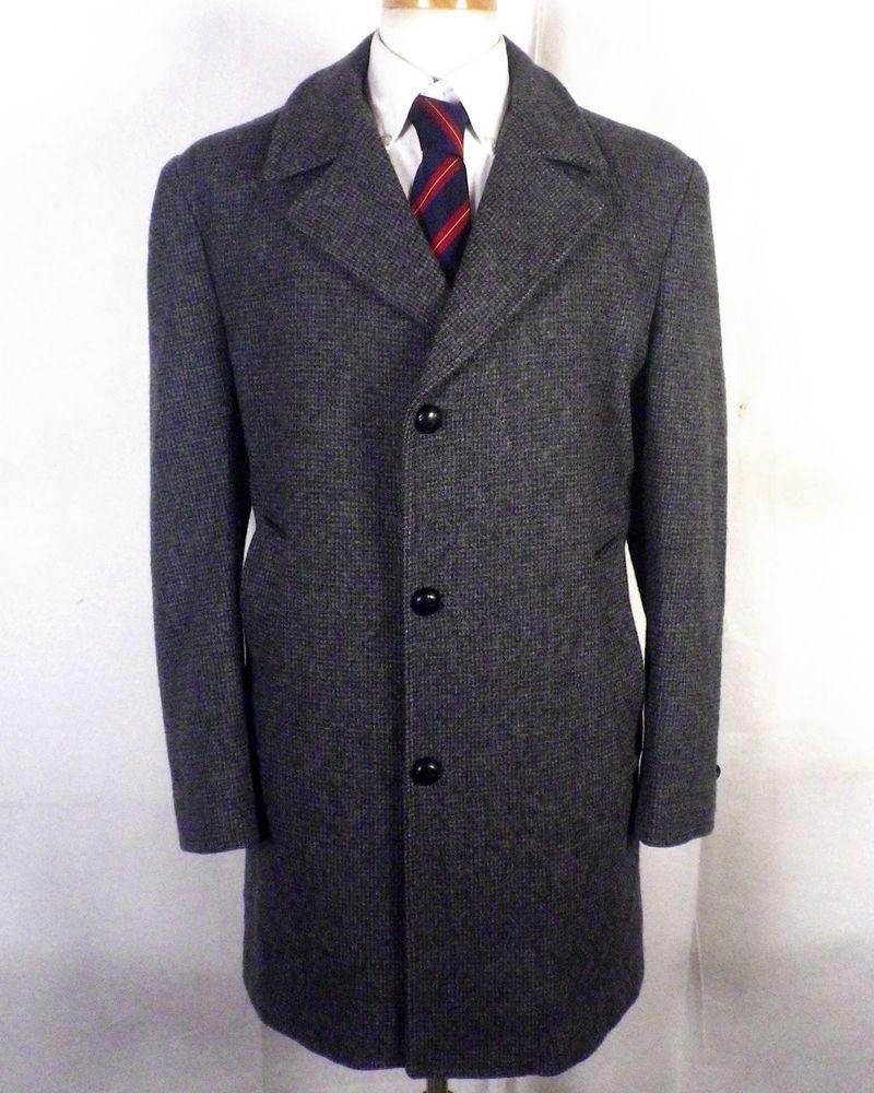 NWOT Haggar Imperial Gray 100% Wool Tweed Men's Overcoat