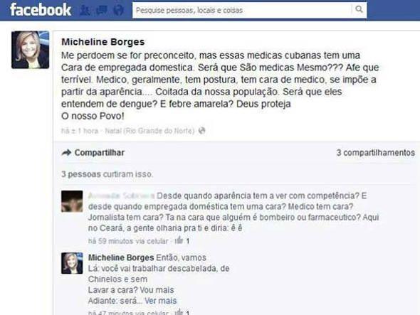 Reprodução da publicação da jornalista Micheline Borges - lamentável #changebrazil