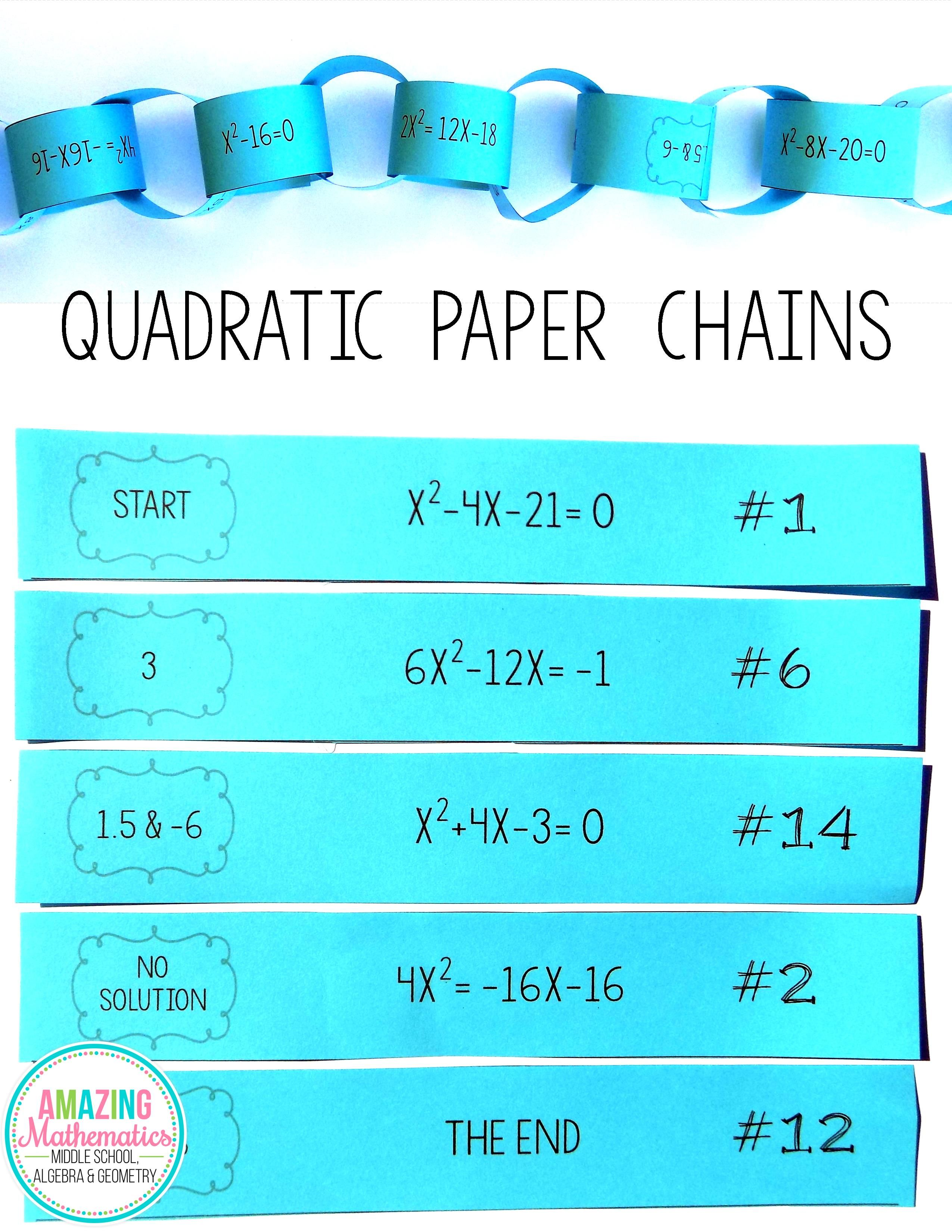 Solving Quadratic Equations Paper Chain Activity Algebra