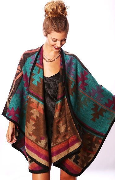 Teal Brown Rust Multicolor Aztec Knit Tribal Oversized Poncho Scarf Cardigan  #ClothingBucket #PonchoScarf