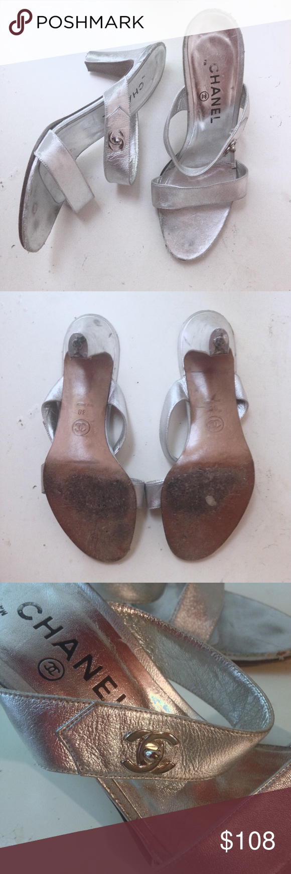 """CHANEL Vintage Silver Lambskin Slide Sandals 38 8 Price firm. Beautiful lambskin silver leather heeled sandals. There are a some spots around the edges of the footbed but it's not noticeable at all when worn. Heel measures 3"""". Labeled 38 fits more like a USA 7. Both shoes need heel cap replacements. (See photos.) CHANEL Shoes Heels"""