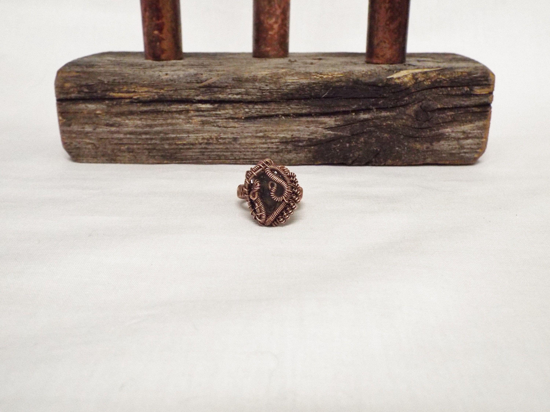 Moldavite Copper Wire Wrap Ring Size 6 12