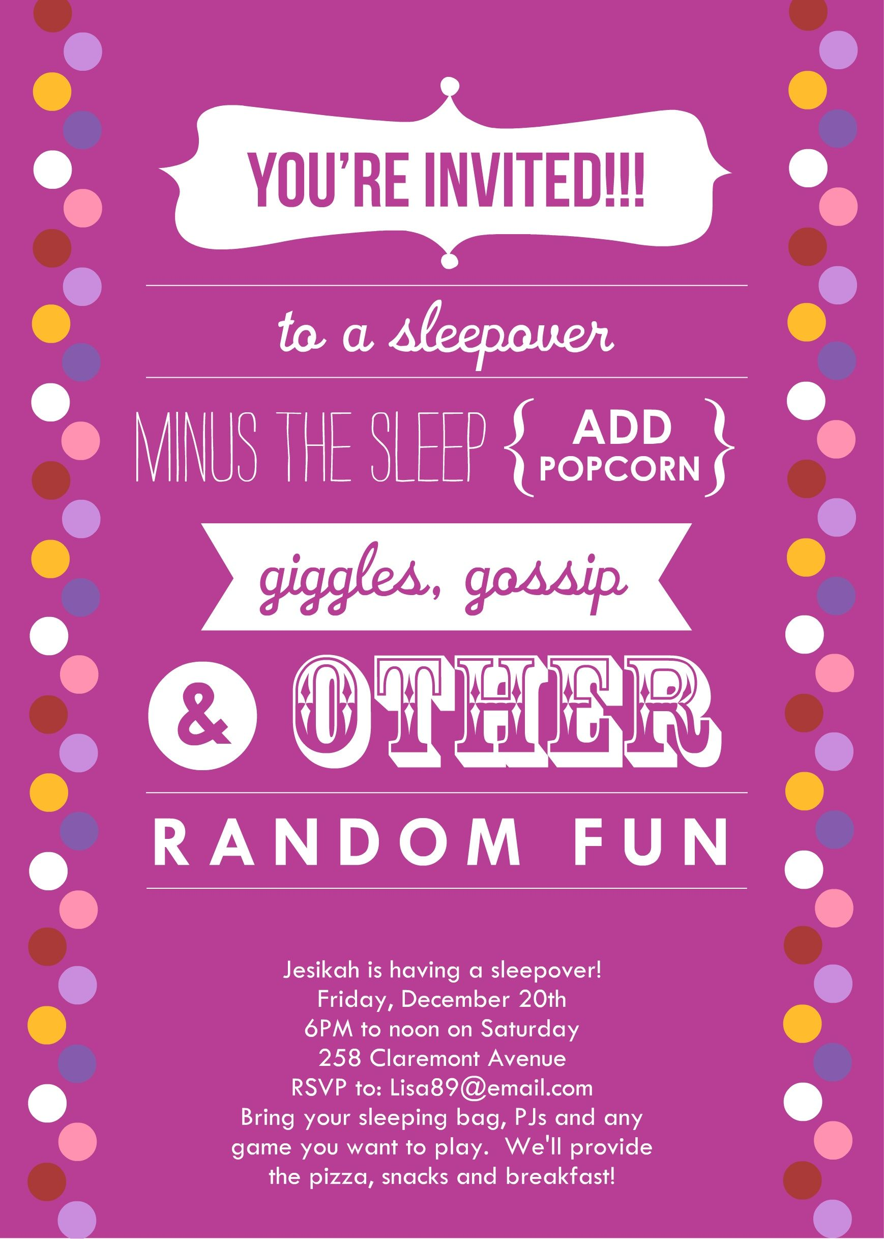 Sleepover Invitations | Announce It by: Alicia F- http://announceit ...