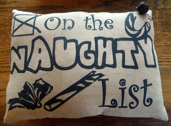 Primitive Christmas pillow On the naughty list. by ahlcoopedup