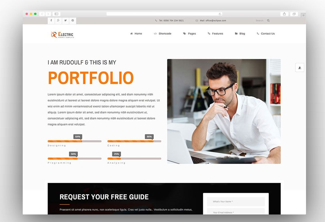 Electric vCard WordPress Themes Pinterest Resume