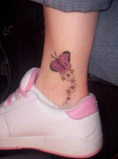 Small Butterfly Stars Ankle Tattoo Tattoos Pinterest Tattoos