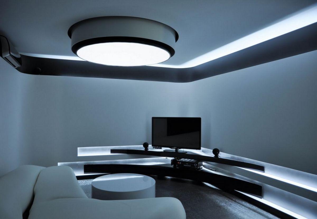 Modern Apartment Living Room Design With Full Led Lighting Ideas