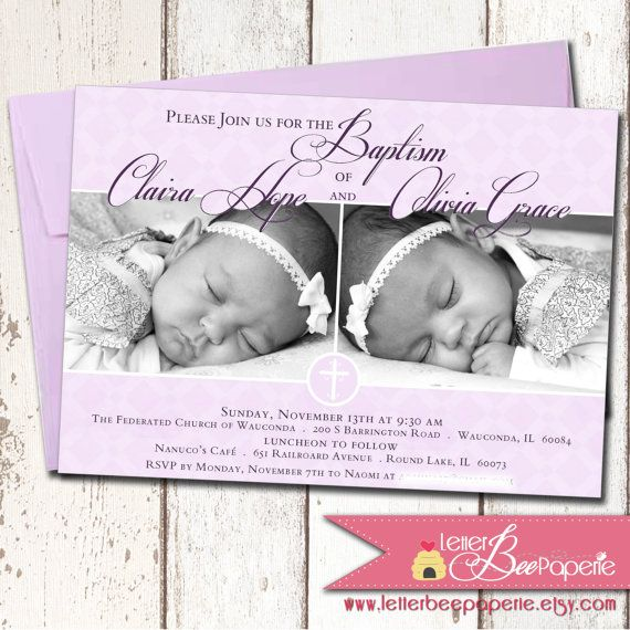 Custom Twins Baby Girls Baptism Invitation Christening Invite
