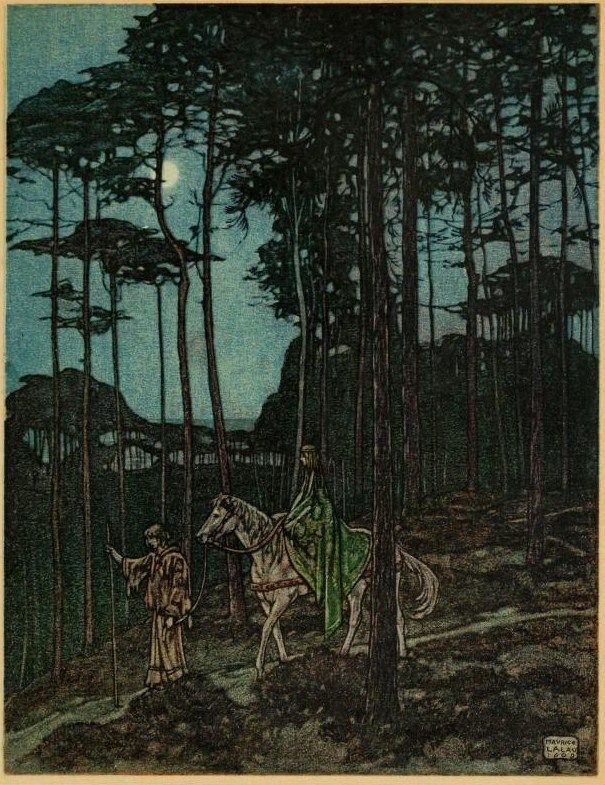 All night, passing through the beloved woods for the last time, they journeyed in silence   The romance of Tristram and Iseult  Joseph Bédier  illustrated by Maurice Lalau. 1910