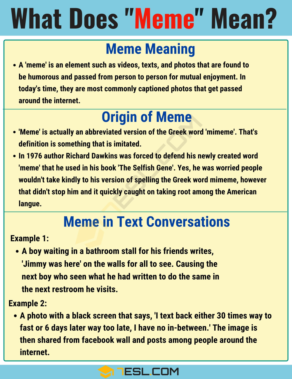 Meme Meaning What Does Meme Mean And Stand For 7esl Slang Words Memes English Vocabulary