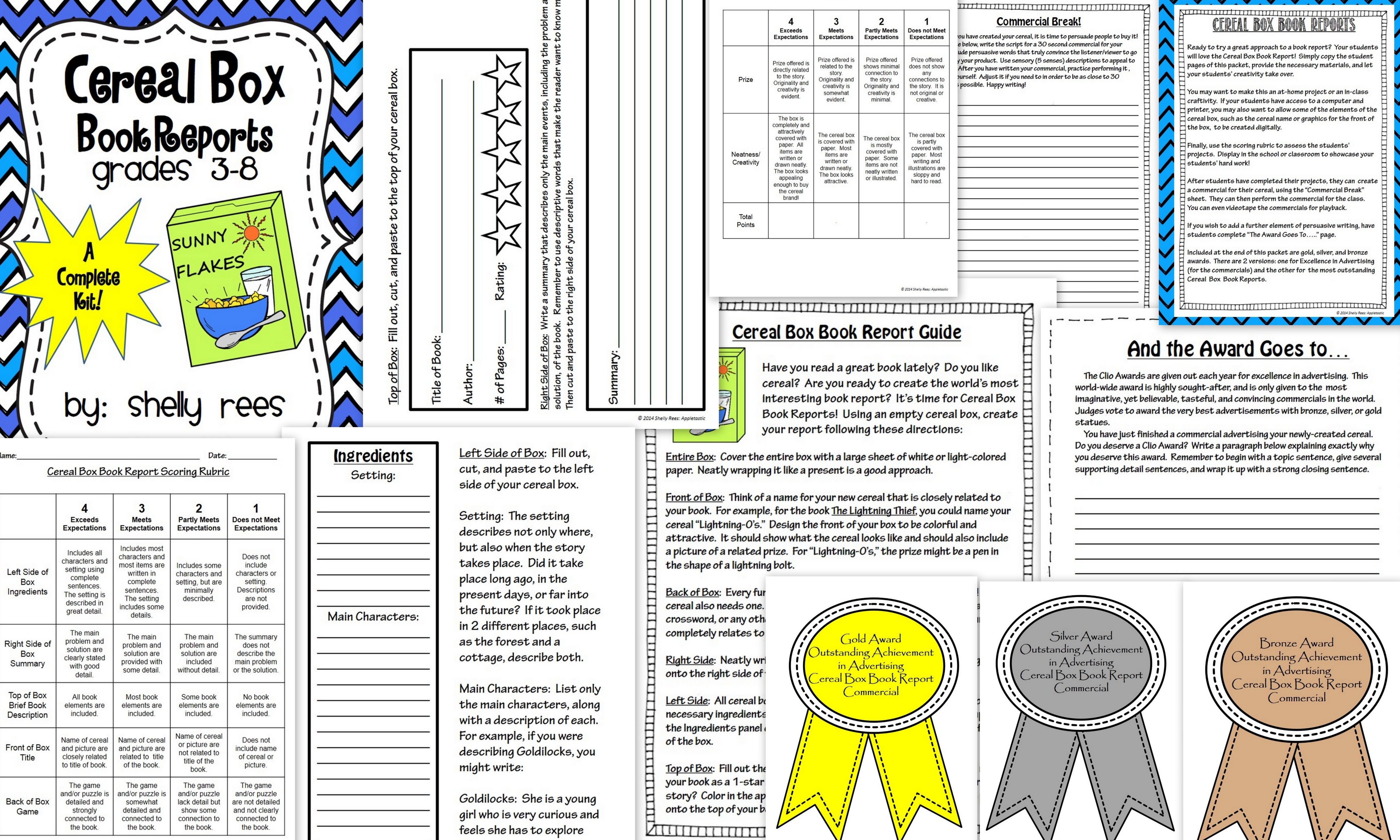 Cereal Box Book Report Kit  Persuasive Writing Book Projects And