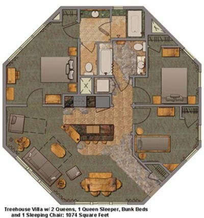 Disney s Saratoga Springs Resort treehouse villas floor plan