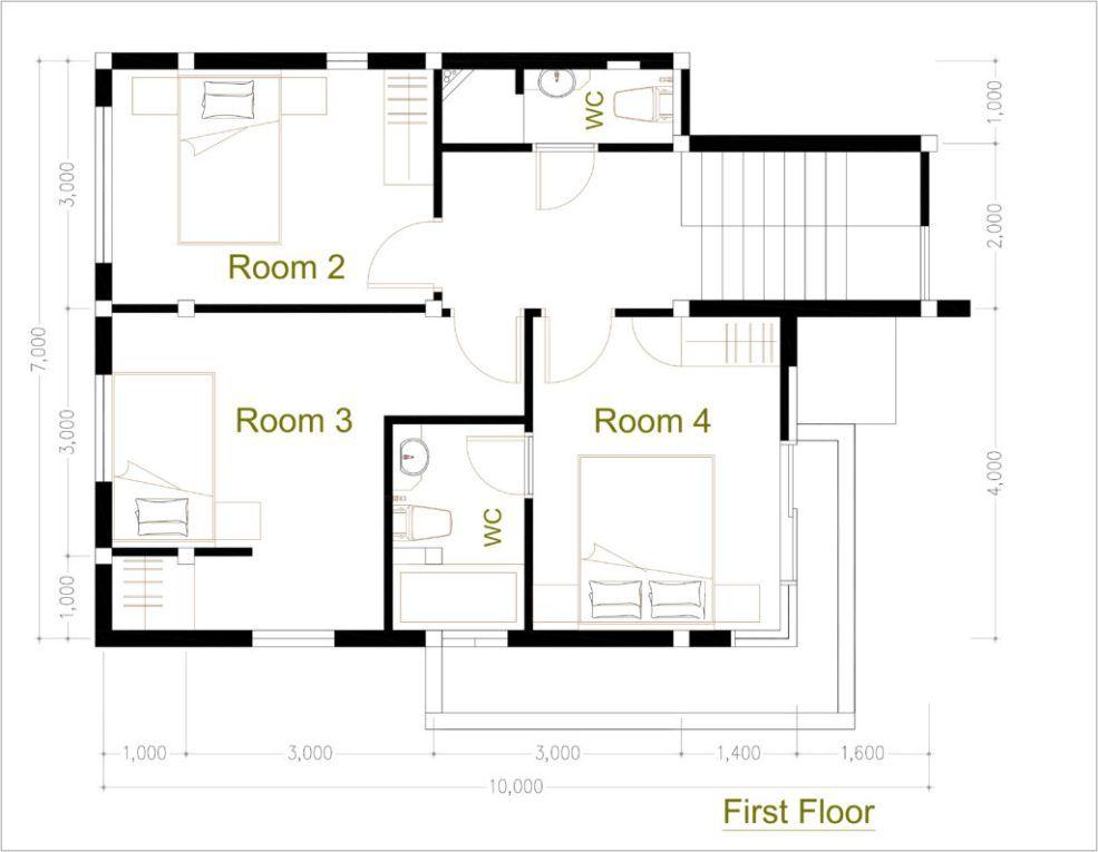 4 Bedroom Home Design Plan 7 5x9m Samphoas Plan Home Design Plan House Design Architectural House Plans