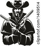 Clipart of a Black and White Tough Western Cowboy Holding Pistols in His Crossed Arms - Royalty Free Vector Illustration by Seamartini Graphics