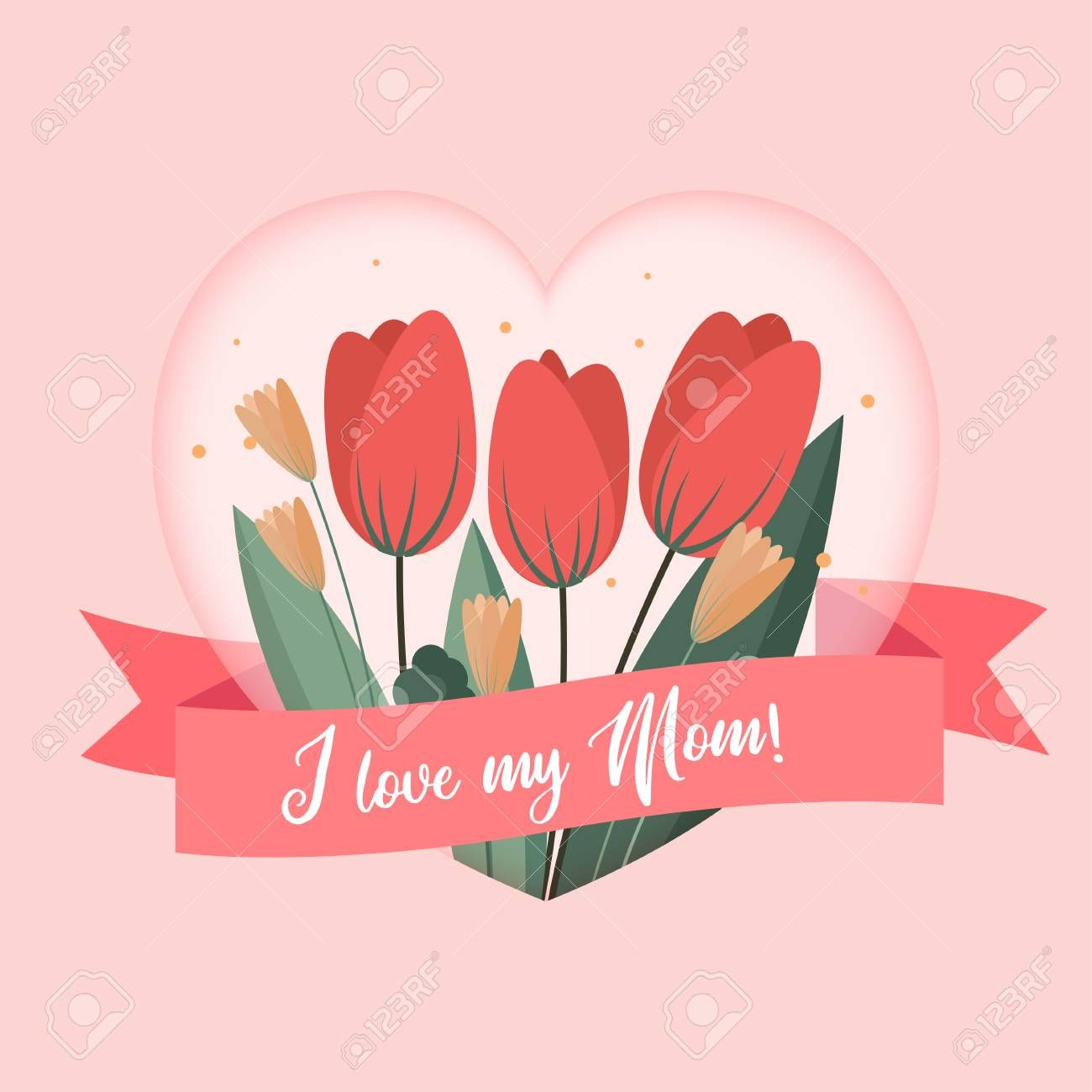 The Exciting I Love My Mom Greetings Card Template Background Design To Mothers With Birthday Cards For Mom Birthday Card Template Mothers Day Card Template