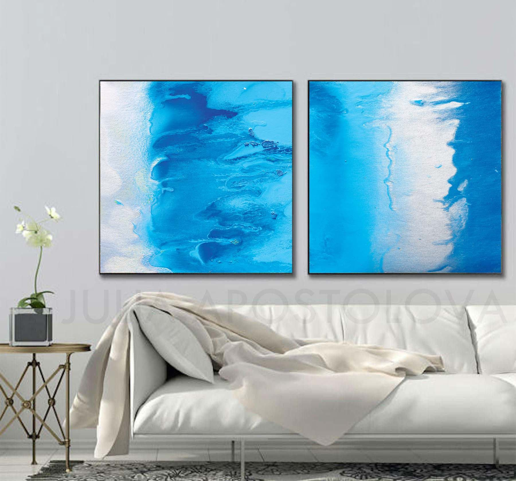 Beach decor wall art modern abstract art print minimalist - Tropical Escape Aqua Blue Wall Art Canvas Art Print Beach Home Decor Turquoise Abstract Extra Large Wall Art Watercolor Print Set Of 2