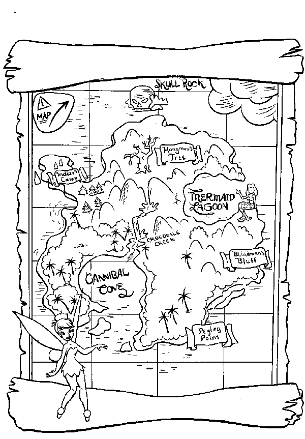 Treasure Map Coloring Page Activity Could work in party favor