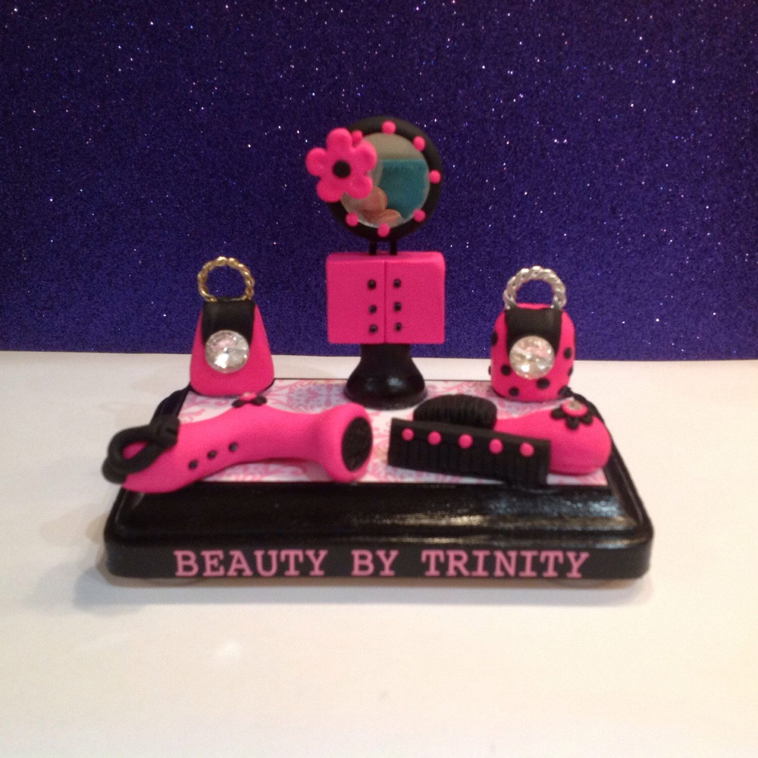 polymer clay business card holder cosmetologist barber salon