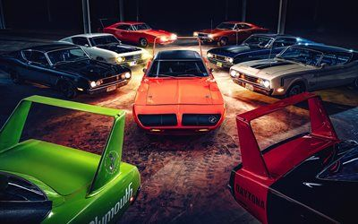 Download wallpapers 4k, Dodge Charger Daytona, Plymouth Superbird, retro cars, 1969 cars, muscle cars, american cars, Dodge, Plymouth besthqwallpapers.com