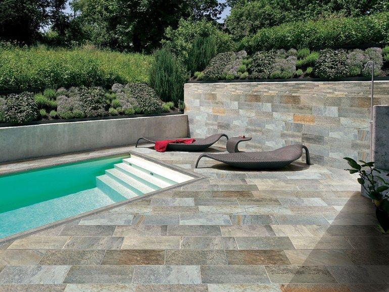 Baldosas de exterior de gres porcel nico efecto piedra for Piedras para patios exteriores