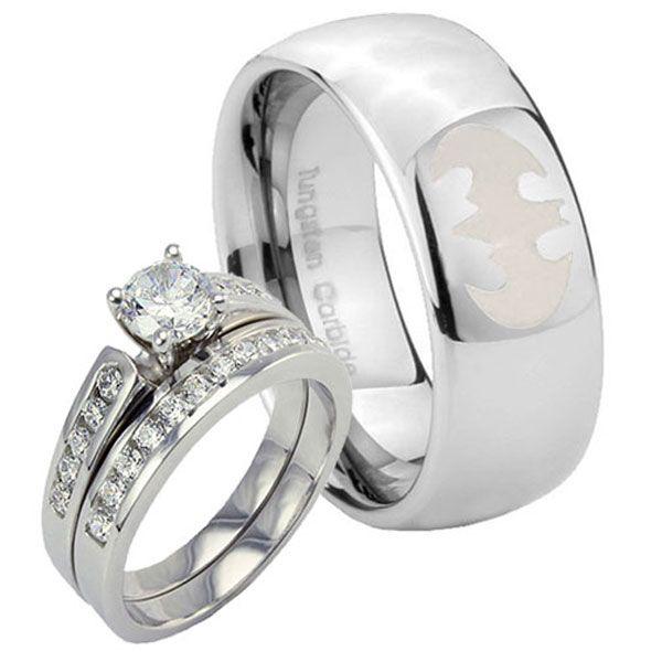 batman wedding rings Silver CZ 925 Women Set Tungsten Batman