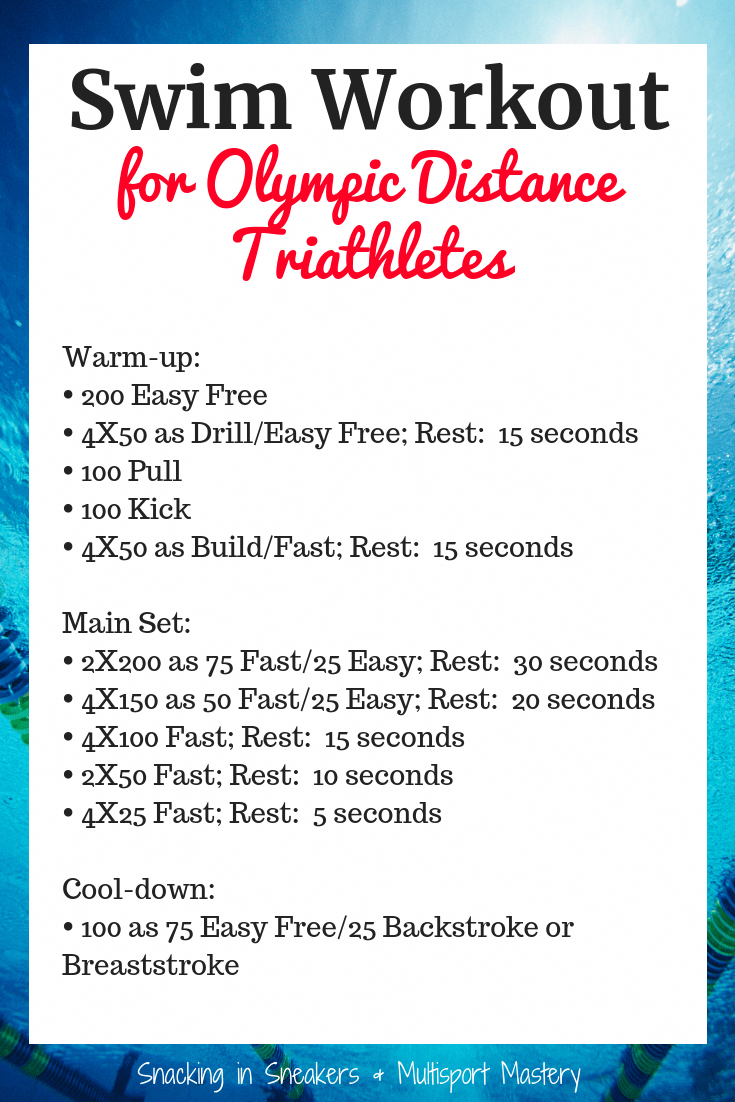 Triathlon training for an Olympic distance race is a huge undertaking! Get ready for your race with this swim workout, geared specifically for this distance. #triathlon #workout #swimming