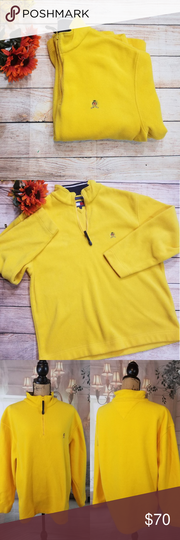 Tommy hilfiger yellow half zip up fleece jacket my posh picks