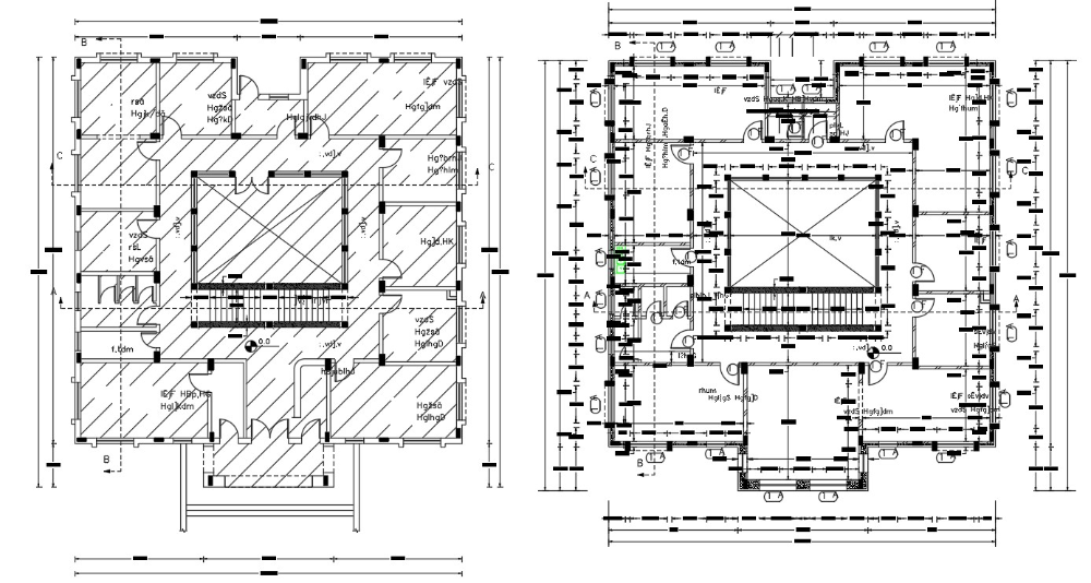 Two Floors Plan Of Hostel Architectural Building Design With Dimension Cadbull Hostels Design Building Design School Building Plans