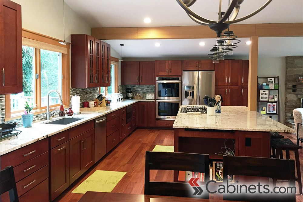 cherry cabinets offer a warm, rich look. not to mention, the