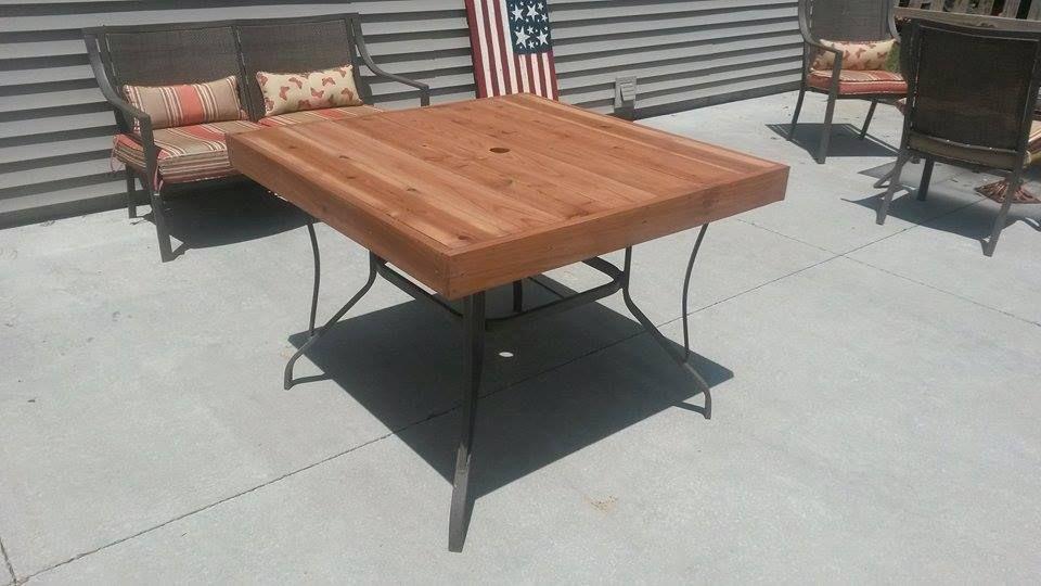 Cedar top replacing broken glass top patio table top