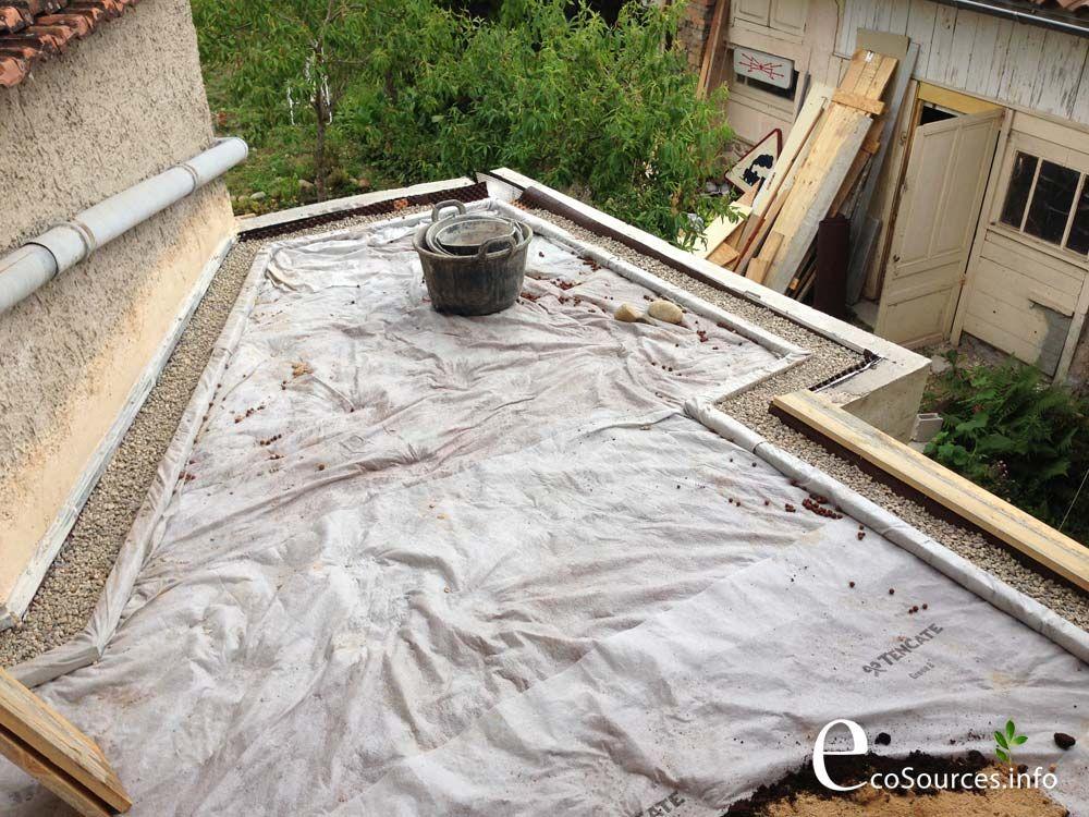 Toit végétal en autoconstruction   Green roof in autoconstruction