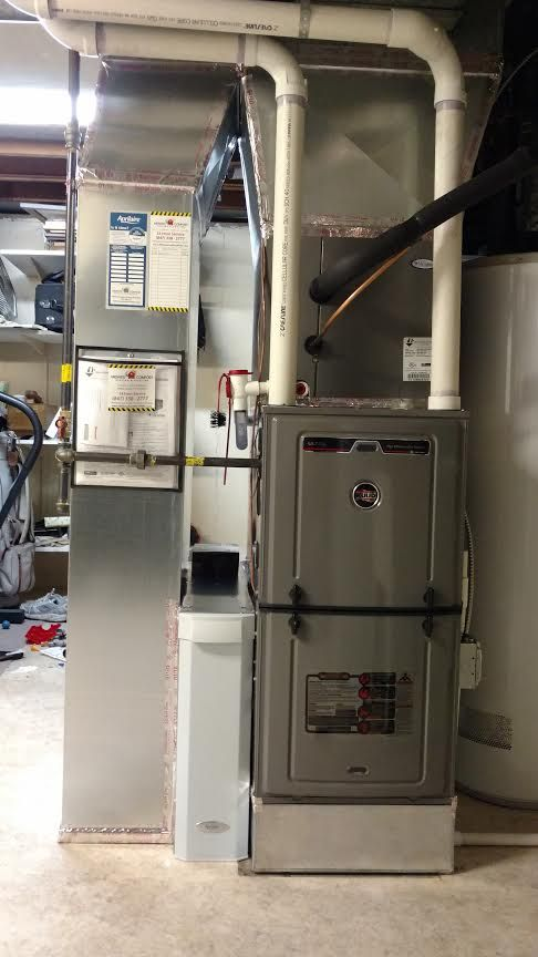 Rheem Ruud U96v Furnace Installation Furnace Installation Home Heating Systems Air Conditioner Installation
