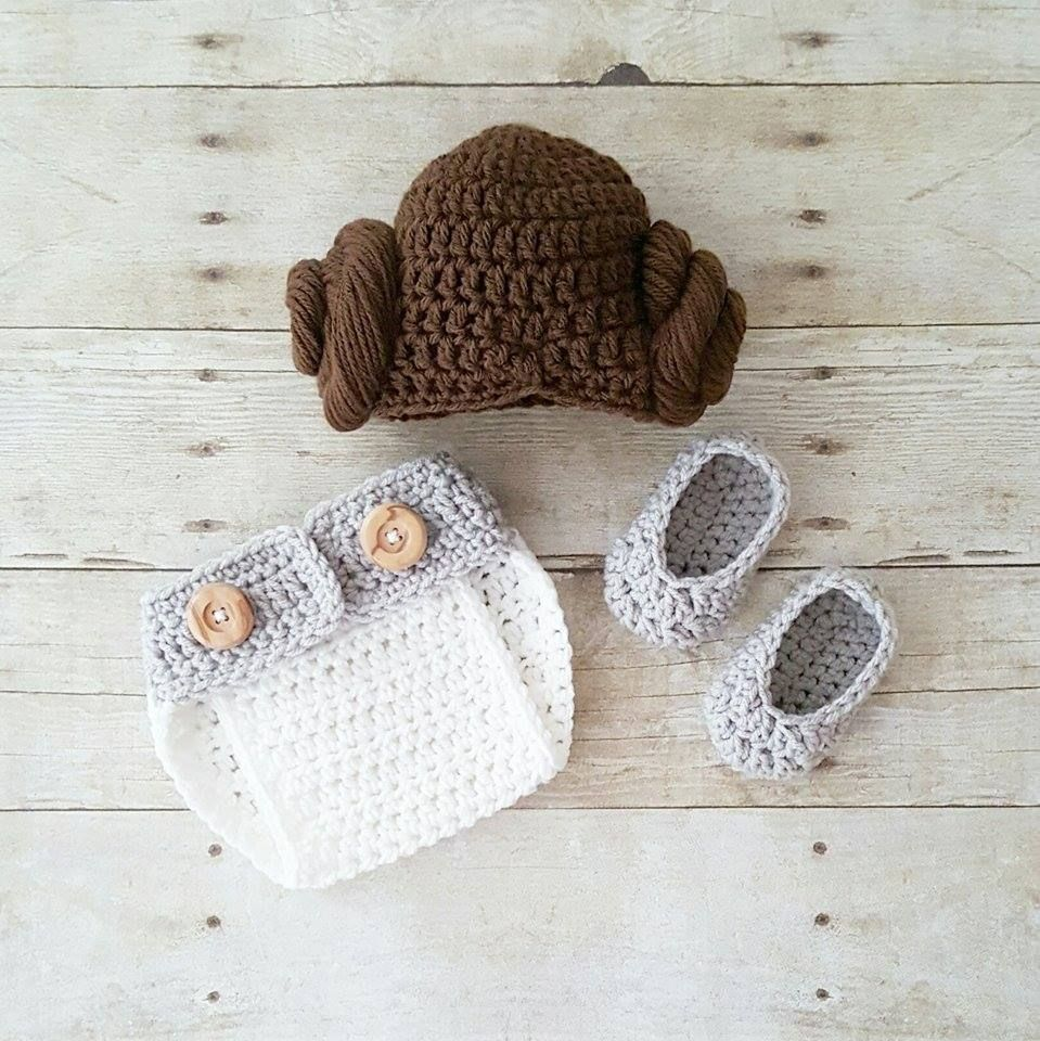 a099b1b678d Crochet Baby Princess Leia Hat Wig Hair Diaper Cover Shoes Star Wars  Costume Infant Newborn Baby Photography Photo Prop Shower Gift Present