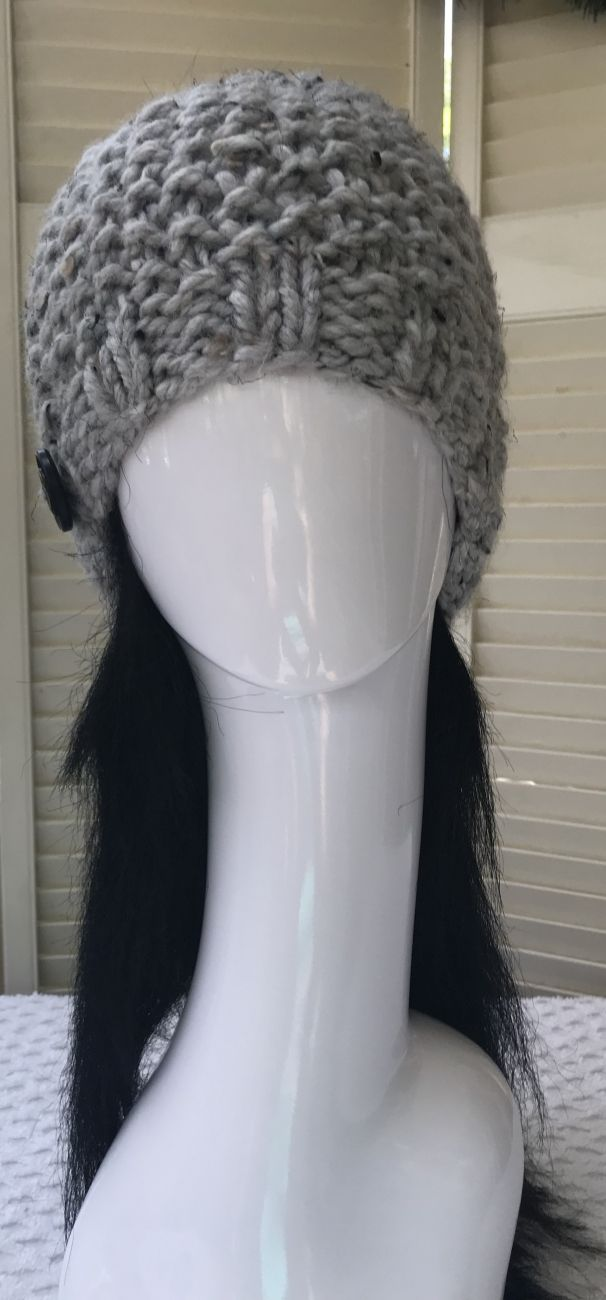 Messy Bun Hat - Light Grey Tweed #messybunhat