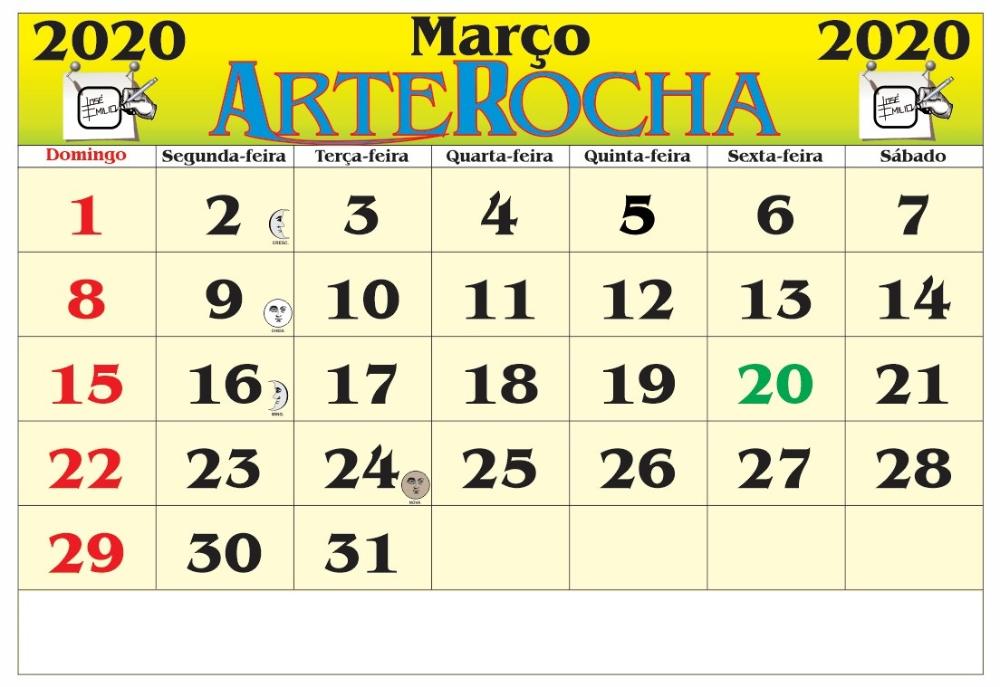 Calendário 2020 Março Palavra PDF Imagens in