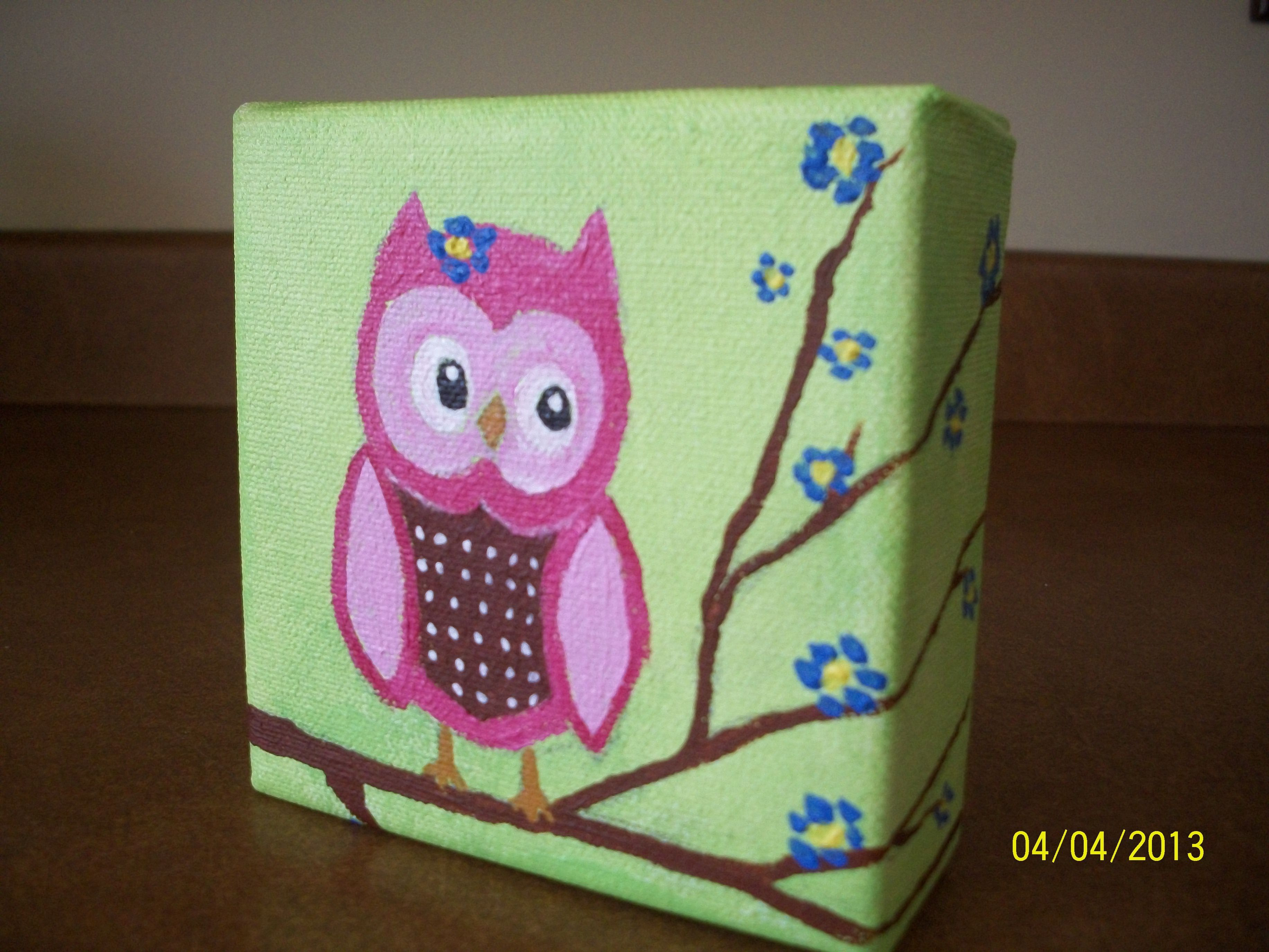 An Owl I Painted On A Mini Canvas For My Grandbaby