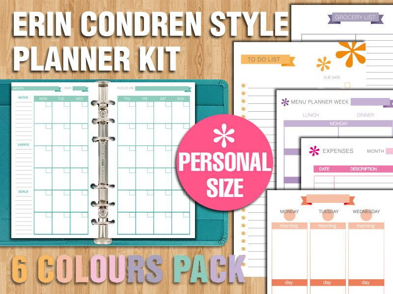 Erin Condren style printable weekly planner - PERSONAL SIZE di - list of expenses