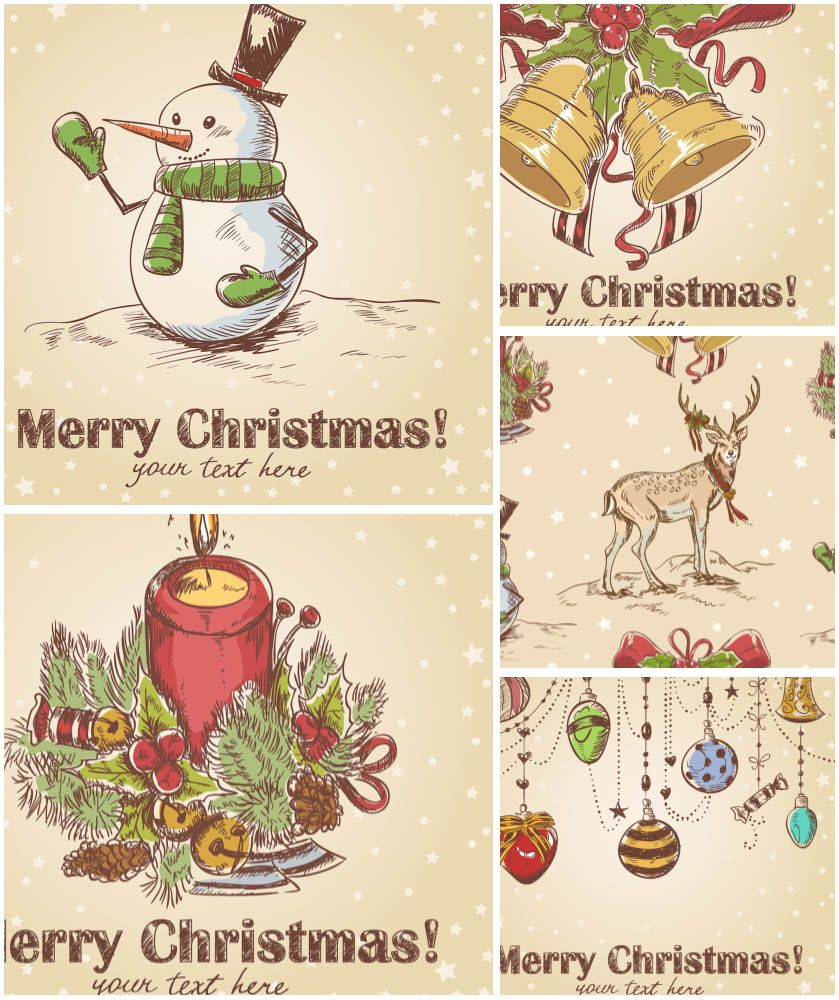 Retro Cute Christmas Cards Vector