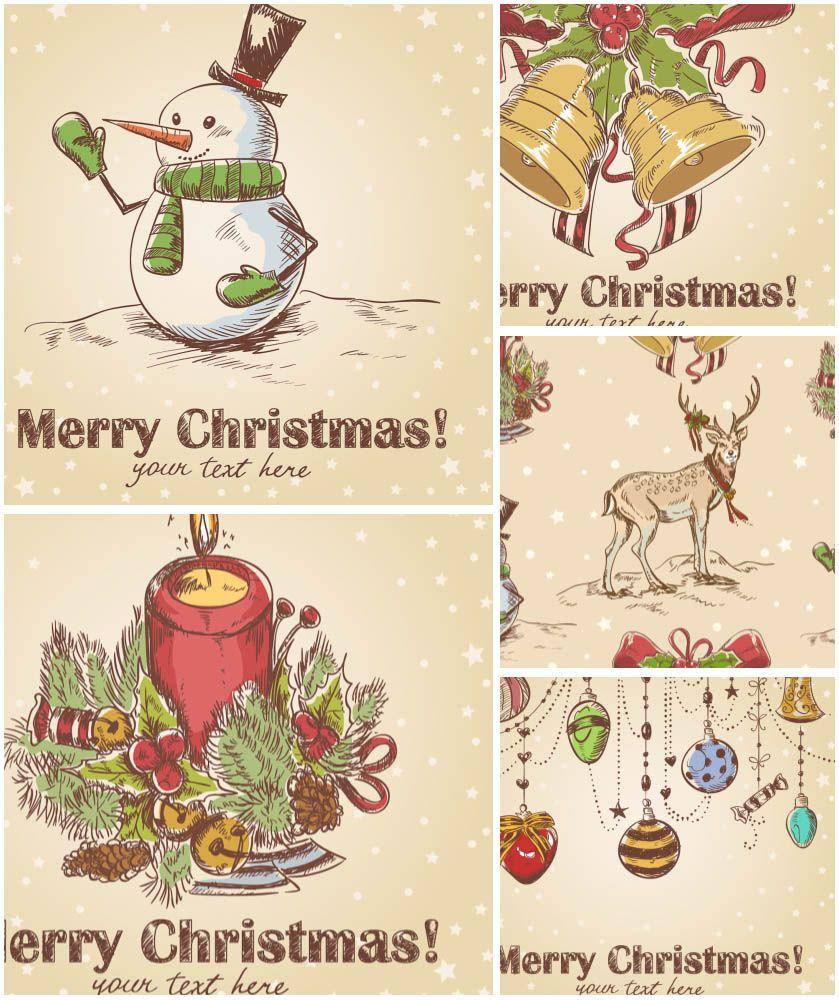 Retro Cute Christmas Cards Vector