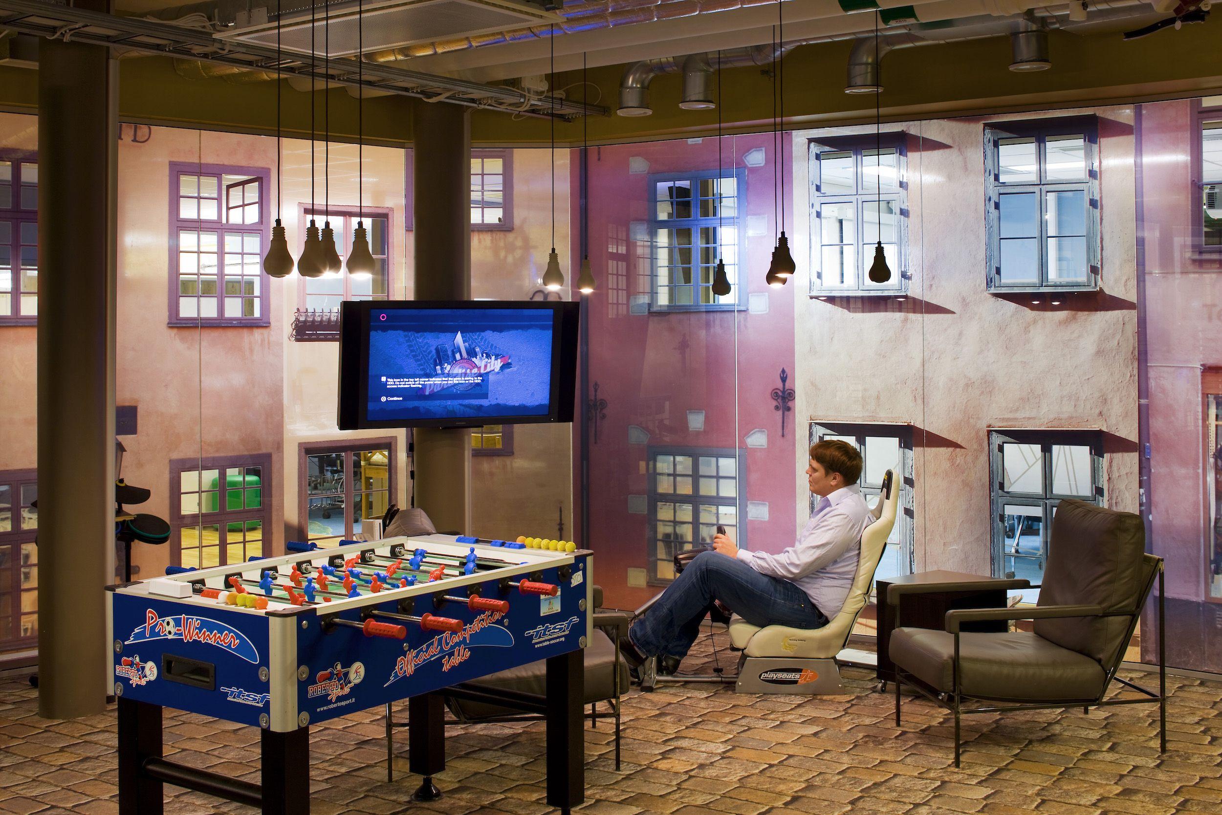Google office stockholm microkitchen games area googlestockholm office play games