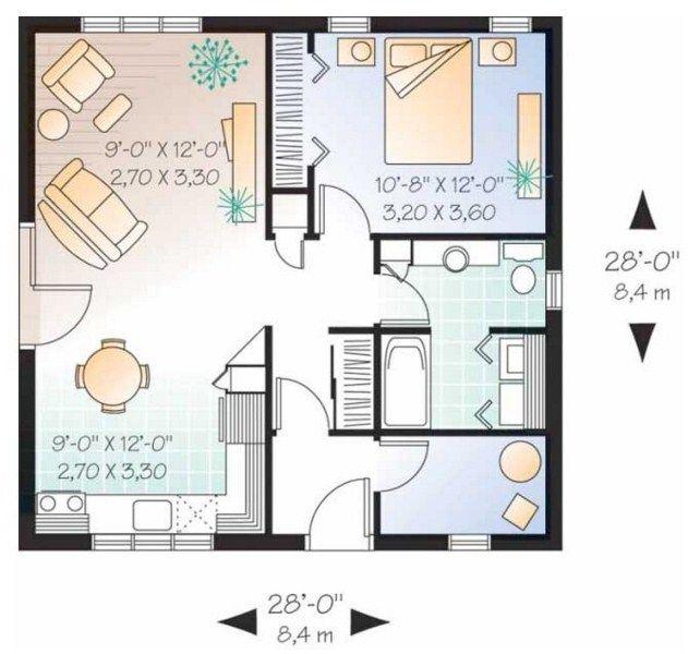 Plano de casa de 8 x 8 m casas modernas planos de for Planos de casas pequenas de una planta