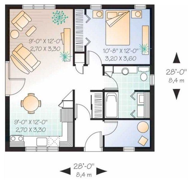 Plano de casa de 8 x 8 m casas modernas planos de for Planos casas pequenas modernas