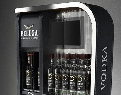 Beluga Vodka Advertising Bar Single Bottle Display