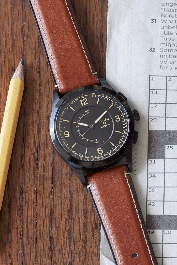 Hybrid Smartwatch Activist Luggage Leather Smart Watch Fitness Watch Tracker Leather Luggage
