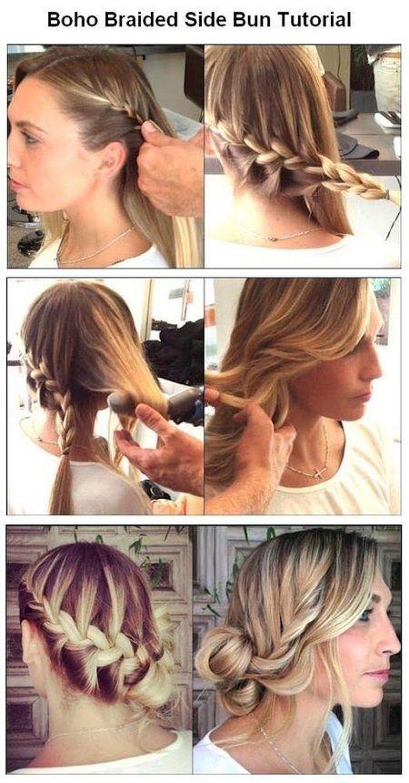 Boho Braided Side Bun Tutorial - #boho #braids #braidtutorial #braidupdo #braidedbun #buntutorial - Love beauty? Go to bellashoot.com for beauty inspiration!
