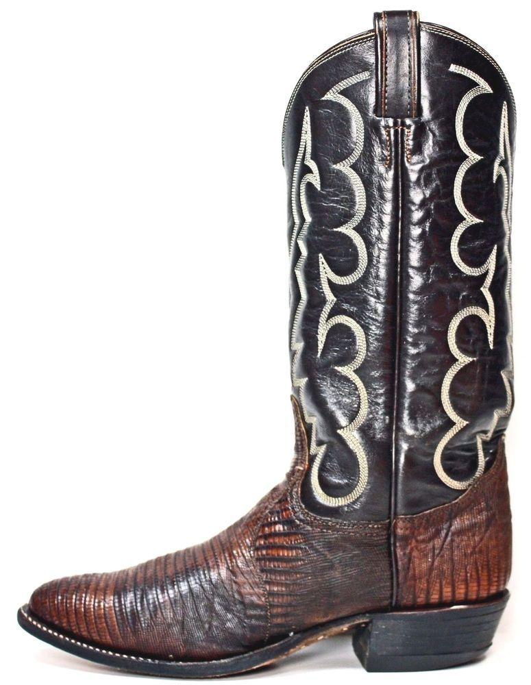 ae501d02b2c Tony Lama Mens Cowboy Boots size 8 C Vintage Black Label Lizard ...