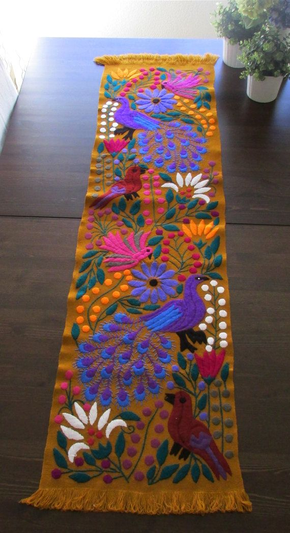 Table+Runner+Ocher+Color+Mexican+Textile+hand+by+ArteDeMiTierraMX